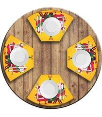 jogo americano   para mesa redonda wevans cute noel yellow  love decor - multicolorido - dafiti