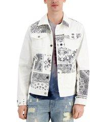 sun + stone men's adler blocked trucker jacket, created for macy's