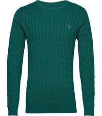 cotton cable crew stickad tröja m. rund krage grön gant