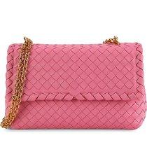 bottega veneta women's intrecciato leather shoulder bag - pink