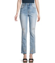 driftwood women's audrey straight embroidered jeans - medium wash - size 29 (6-8)
