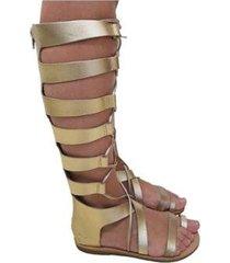 sandália couro sapatoweb gladiadora rasteira feminina - feminino