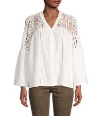 stellah women's v-neck lace button-front top - white - size m