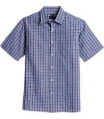 pronto uomo black and blue plaid classic fit sport shirt