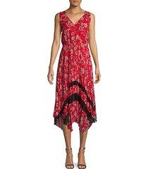 sleeveless floral pleated midi dress