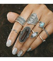 8 pezzi boemia anello set vintage turquoise gem silver gold casual knuckle anelli regalo per le donne