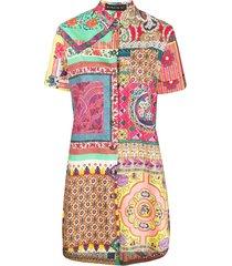 etro printed patchwork shirt dress - pink