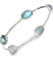 ippolita women's wonderland mother-of-pearl, clear quartz & sterling silver station five-stone doublet bangle bracelet