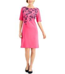 karen scott floral-print boat-neck dress, created for macy's