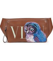 valentino garavani men's beaded eagle leather waist bag - cuir