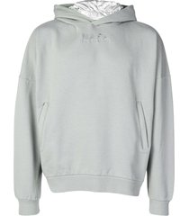 napa by martine rose embroidered logo hoodie - grey