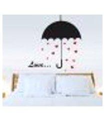 adesivo de parede guarda chuva romantico - médio