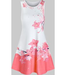peach blossom print mini swing dress
