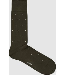 reiss mario - polka dot socks in khaki, mens