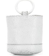 crackled mini bucket bag white