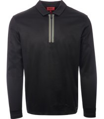 hugo black dywel quarter zip ls polo shirt 50401818-001