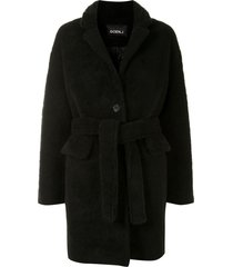 goen.j single-breasted faux shearling jacket - black