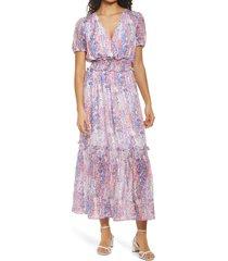 women's nsr ruby floral short sleeve dress, size small - purple