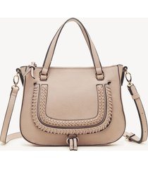 women's destin crossbody bag 2 vegan studded whipstich powder blush vegan leather from sole society