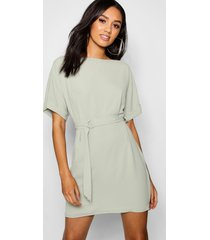 petite turn up sleeve waist woven shift dress, sage