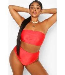 plus mix & match high waisted bikini brief, red