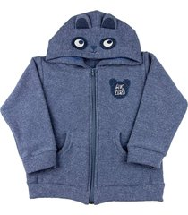casaco infantil ano zero malha soft glac㪠touca ursinho - marinho - azul marinho - menino - dafiti