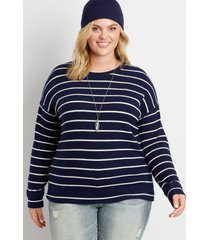 maurices plus size womens navy stripe straight hem pullover blue
