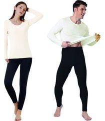combo x 4 leggings pantalon térmico y camiseta termica hombre y mujer - negro-blanco