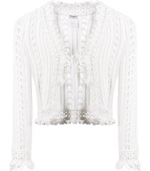 chanel pre-owned tied crochet cardigan - white