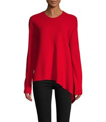 asymmetrical hem crew sweater