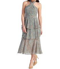 sam edelman women's printed tiered midi dress - dusty blue - size 14