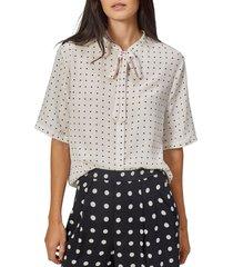 women's equipment felicien tie neck silk blouse, size medium - grey