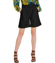 inc international concepts faux-leather paperbag-waist shorts, created for macy's