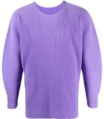 homme plissé issey miyake pleated balloon-sleeve sweatshirt - purple