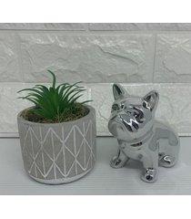 conjunto decorativo vaso com estampa geométrica e bulldog prata
