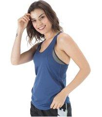 camiseta regata nike run tank - feminina - azul escuro