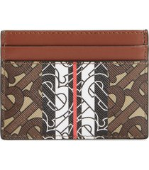 women's burberry sandon tb monogram e-canvas card holder - brown