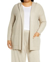 eileen fisher open front organic cotton hooded cardigan, size 3x in maple oat at nordstrom