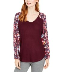 vera bradley rhone waffle and flannel pajama top, online only