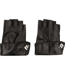 karl lagerfeld k/ikonik pin cuff gloves - black