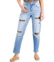 inc leopard-detail destructed boyfriend jeans, created for macy's