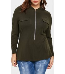 plus size pocket detail flared t-shirt