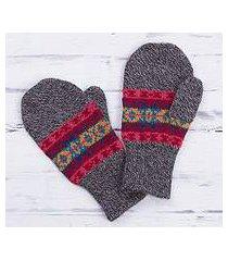 100% alpaca mittens, 'multicolored inca' (peru)