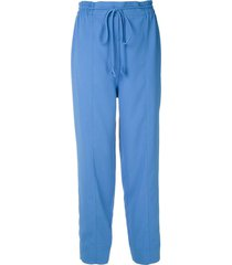 martha medeiros tie waist tapered trousers - blue