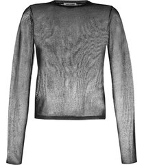saint laurent sheer open knit jumper - black