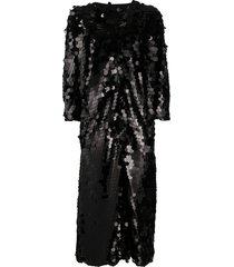 herno sequin-embellished duster coat - black