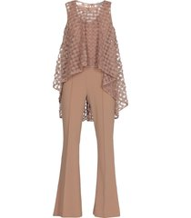 d.exterior jumpsuit with tulle embroidered top