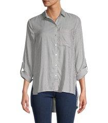 for the republic women's stripe woven shirt - black ivory - size s