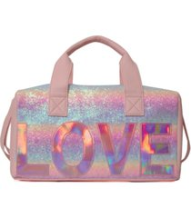 omg! accessories ombre glitter love duffle bag
