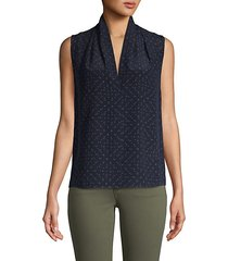 dot-print sleeveless silk top